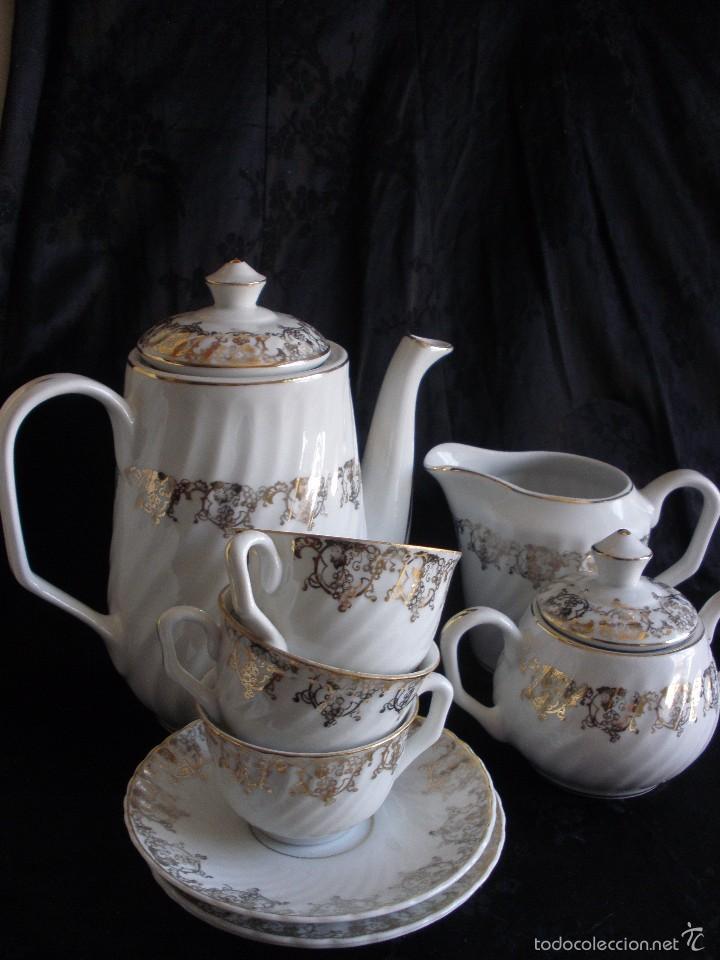 Antigüedades: JUEGO DE CAFE ROYAL POLA GIJÓN CON PORCELANA BLANCA Y CENEFA EN ORO - Foto 17 - 57946221