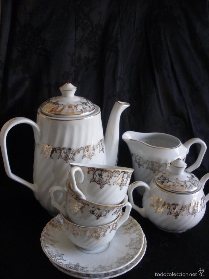 Antigüedades: JUEGO DE CAFE ROYAL POLA GIJÓN CON PORCELANA BLANCA Y CENEFA EN ORO - Foto 18 - 57946221
