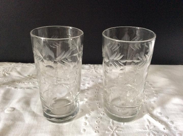 PRECIOSOS VASOS TALLADOS DE 10,5 CM DE ALTURA (Antigüedades - Cristal y Vidrio - Baccarat )