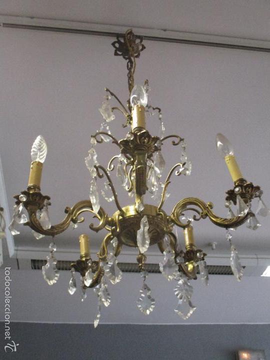 Antigua lampara de techo bronce y cristal 5 comprar - Lamparas cristal antiguas ...