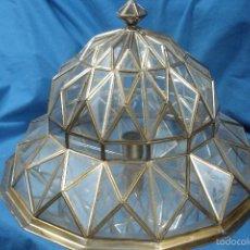Antigüedades: LAMPARA/ PLAFON DE LATÓN Y CRISTAL - GRAN TRABAJO ARTESANO - MIDE 48 X 48 CM. DE BASE - OS GUSTARÁ. Lote 57980539