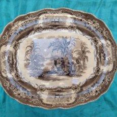 Antigüedades: BANDEJA DE LOZA VIDRIADA DEL SIGLO XIX. Lote 57988154