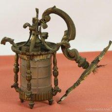 Antigüedades: FAROL DE JARDIN EN LATON. ESTILO MODERNISTA. MEDIADOS SIGLO XX. . Lote 57988747