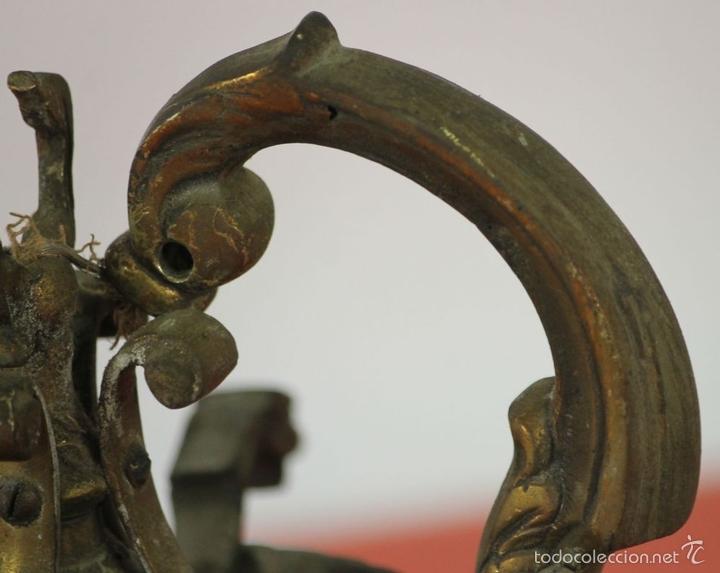 Antigüedades: FAROL DE JARDIN EN LATON. ESTILO MODERNISTA. MEDIADOS SIGLO XX. - Foto 3 - 57988747