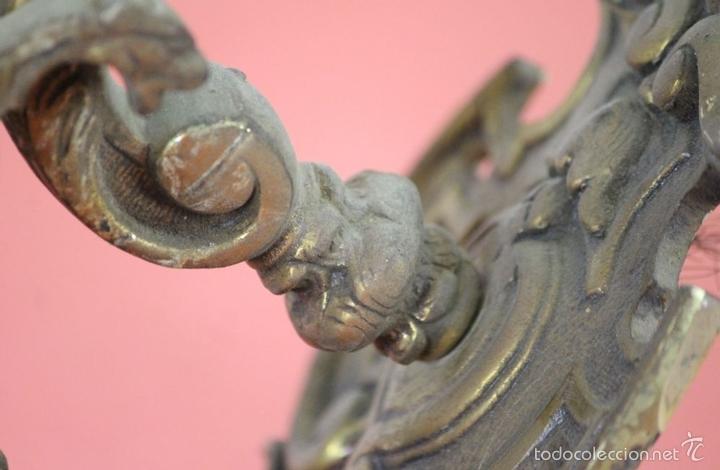 Antigüedades: FAROL DE JARDIN EN LATON. ESTILO MODERNISTA. MEDIADOS SIGLO XX. - Foto 5 - 57988747