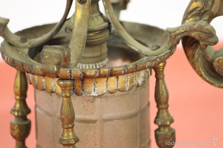 Antigüedades: FAROL DE JARDIN EN LATON. ESTILO MODERNISTA. MEDIADOS SIGLO XX. - Foto 9 - 57988747