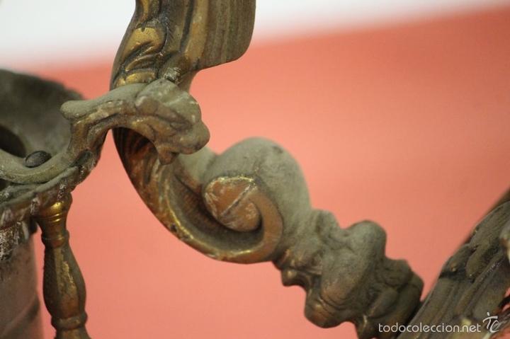 Antigüedades: FAROL DE JARDIN EN LATON. ESTILO MODERNISTA. MEDIADOS SIGLO XX. - Foto 10 - 57988747