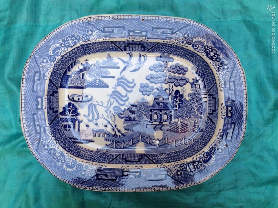 BANDEJA DE LOZA VIDRIADA DEL SIGLO XIX (Antigüedades - Porcelanas y Cerámicas - Inglesa, Bristol y Otros)