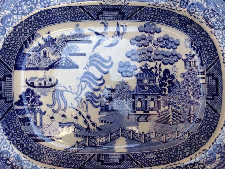 Antigüedades: Bandeja de loza vidriada del siglo XIX - Foto 2 - 57989227