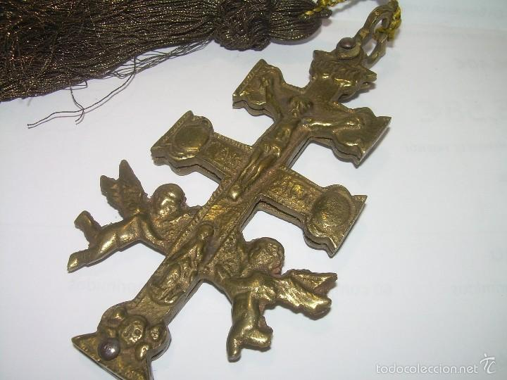 ANTIGUA CRUZ DE BRONCE DE CARAVACA. (Antigüedades - Religiosas - Crucifijos Antiguos)