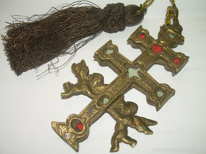 Antigüedades: ANTIGUA CRUZ DE BRONCE DE CARAVACA. - Foto 2 - 178349286