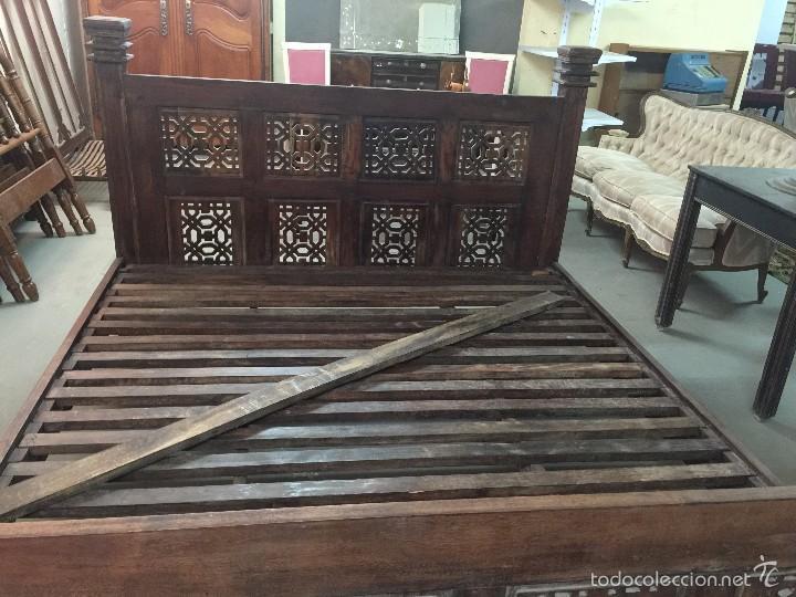 Antigüedades: espectacular cama caoba 170x190 con somier, maciza , cabecero y piecero macizo - Foto 2 - 57999954
