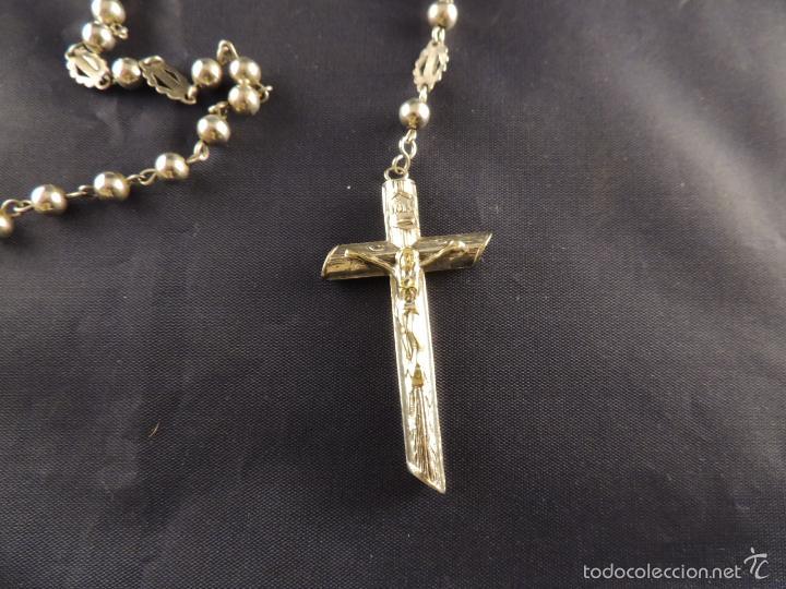 Antigüedades: ROSARIO DE PLATA CON CRISTO EN LA CRUZ - Foto 2 - 58001559