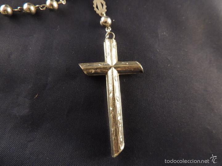 Antigüedades: ROSARIO DE PLATA CON CRISTO EN LA CRUZ - Foto 6 - 58001559