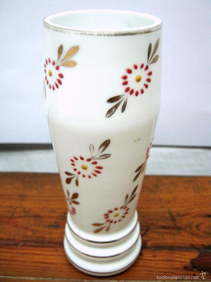 Antigüedades: Antiguo jarron florero cristal opalina La Granja - Foto 2 - 83323036