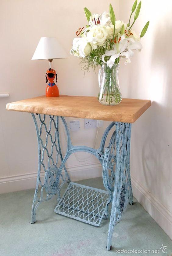 Mesa realizada con base de maquina de coser ant comprar for Vintage muebles y objetos