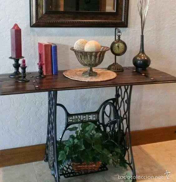 Mesa realizada con base de maquina de coser ant comprar - Mesas de recibidor antiguas ...