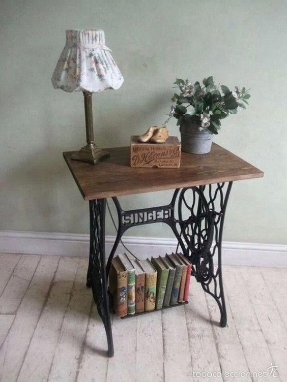 Mesa realizada con base de maquina de coser ant comprar - Mesas para coser a maquina ...