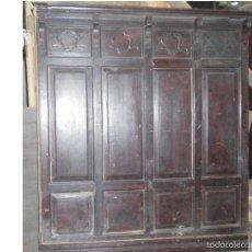 Antigüedades: CABECERO DE MADERA TALLADO Y ENTREPAÑOS . MEDIDA 140 X 176. Lote 58015279