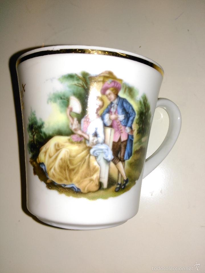 Antigüedades: taza de porcelana muy fina y pan de oro. Santa Clara. Vigo. Escena romántica - Foto 8 - 58070133