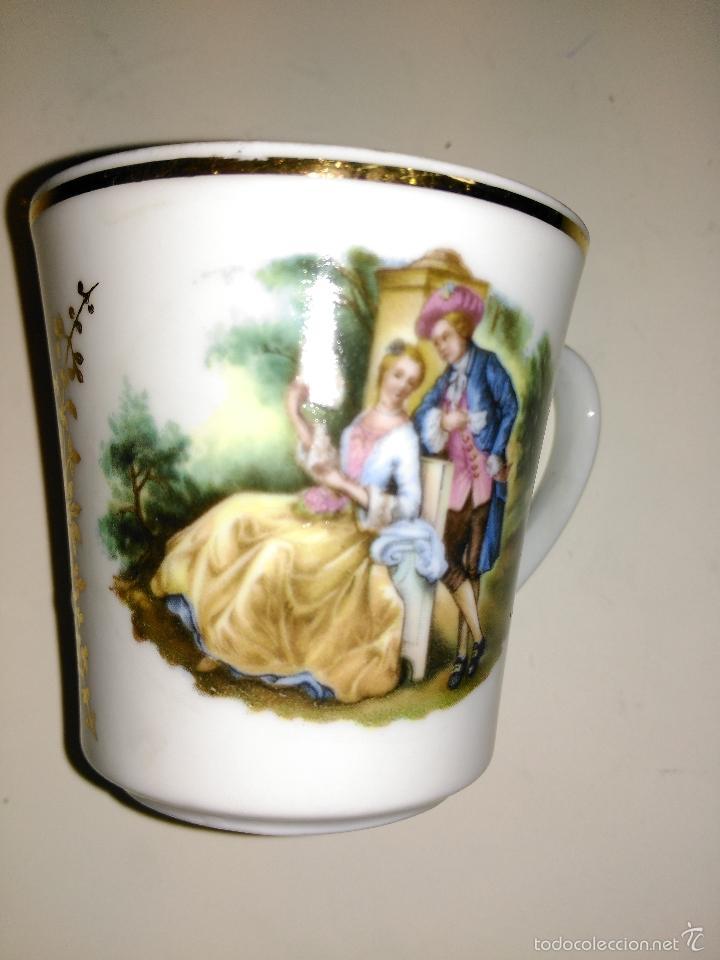 Antigüedades: taza de porcelana muy fina y pan de oro. Santa Clara. Vigo. Escena romántica - Foto 9 - 58070133