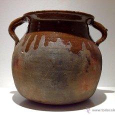 Antigüedades: ANTIGUA OLLA,PUCHERO DE BARRO COCIDO ESMALTADO. Lote 58072473