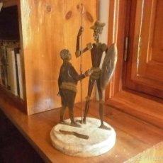 Antigüedades: DON QUIJOTE Y SANCHO PANZA EN METAL CON BASE DE MARMOL. Lote 58076395