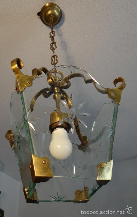 Antigua lampara farol de bronce laton y cristal comprar - Lamparas cristal antiguas ...
