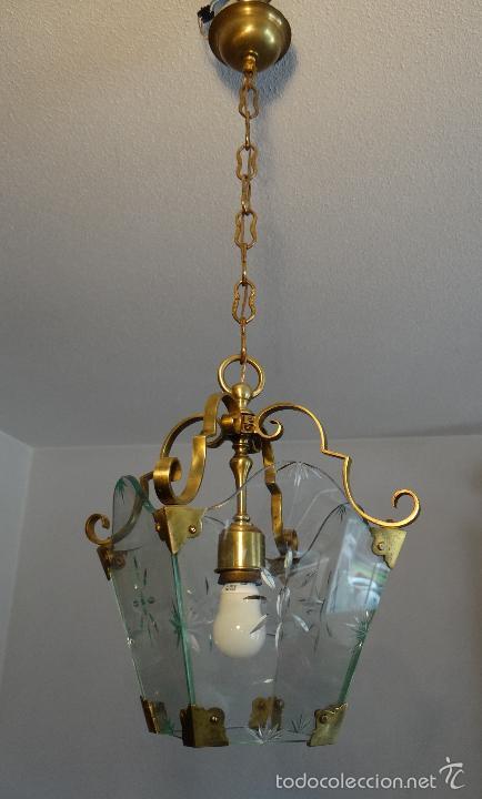 Antigua lampara farol de bronce laton y cristal comprar - Lamparas de cristal antiguas ...