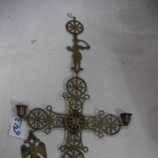 Antigüedades: ANTIGUO PORTA VELAS O CANDELABRO CONGANTE DE PARED EN METAL. Lote 58083847