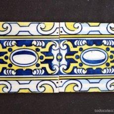 Antigüedades: 2 AZULEJOS MODERNISTA 15 X 15 CM. VALENCIA. AÑOS 20. . Lote 58089704