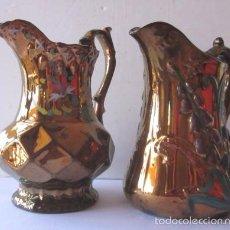 Antigüedades: DOS JARRAS BRISTOL - REFLEJO METALICO. Lote 58102775