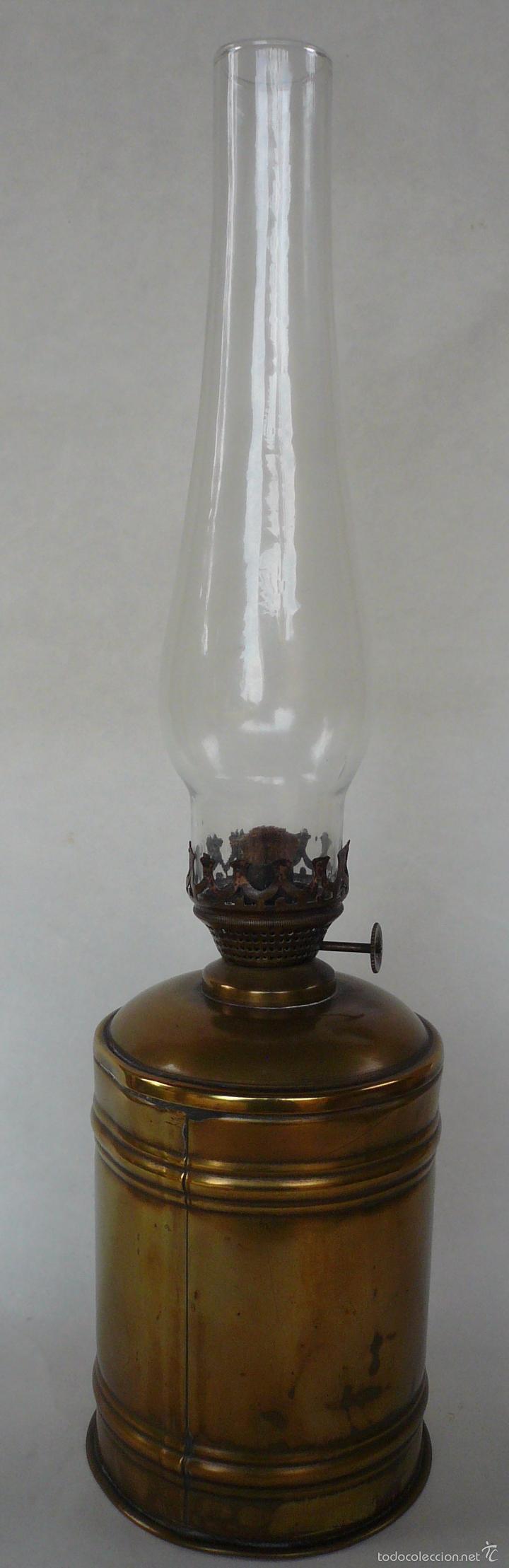 ANTIGUO QUINQUE DE METAL (Antigüedades - Iluminación - Quinqués Antiguos)
