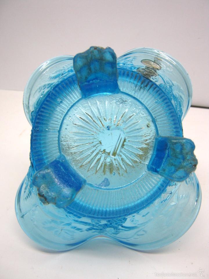Antigüedades: SIGLO XIX Espectacular Cesta Cristal Bicolor . Hojas de Parra Uvas Vid - Foto 5 - 58110693