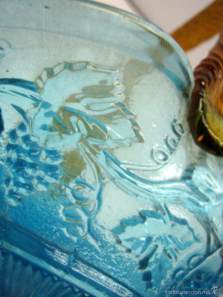 Antigüedades: SIGLO XIX Espectacular Cesta Cristal Bicolor . Hojas de Parra Uvas Vid - Foto 6 - 58110693