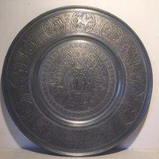 Antigüedades: PLATO DE ESTAÑO CON FIGURAS DE LA BIBLIA Y ADAN Y EVA. MARCA BERENDSOHN ALEMANIA.. Lote 58111192