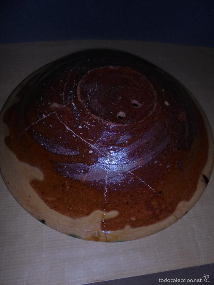 Antigüedades: ANTIGUO PLATO DE CERAMICA POPULAR TERRISSA , CATALAN . ORIGINAL DE EPOCA NO REPRODUCCION - Foto 2 - 58114612