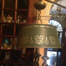 Antigüedades: ANTIGUA LAMPARA EN BRONCE PLATEADO TULIPA DE CHAPA.. Lote 58119937