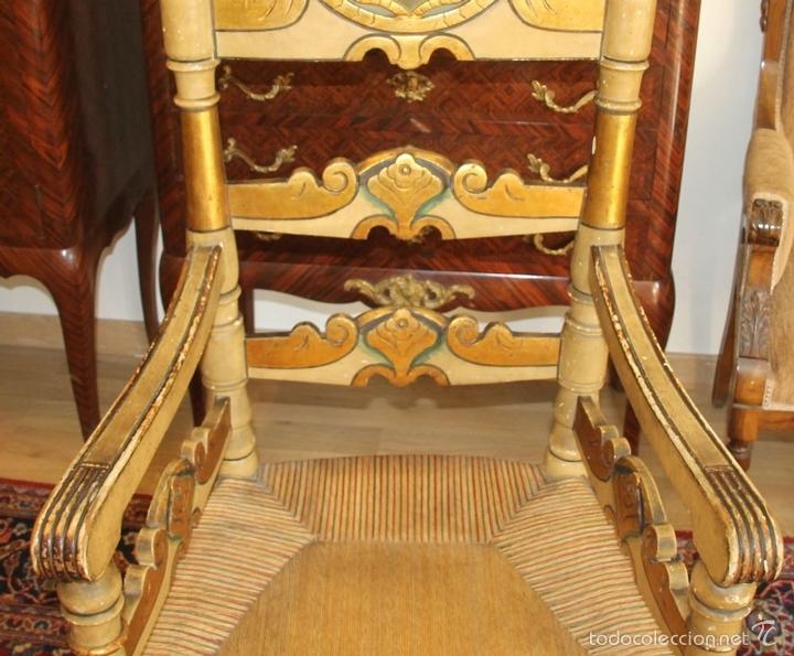 Antigüedades: TRESILLO EN MADERA DE PINO POLICROMADO. ESTILO BARROCO. ESPAÑA. AÑO 1850. - Foto 18 - 58131607