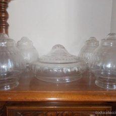 Antigüedades: CONJUNTO DE TULIPAS EN CRISTAL TALLADO. Lote 58134189