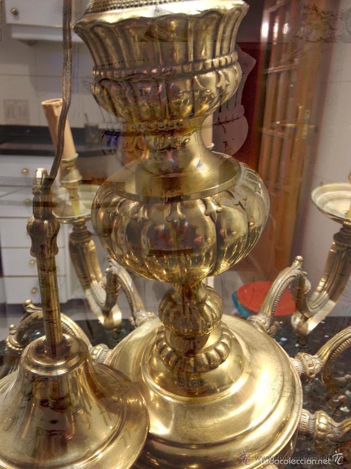 Antigüedades: Expectacular Lampara de Bronce 10 brazos, 80 cm Diámetro (pesa) - Foto 6 - 58135553