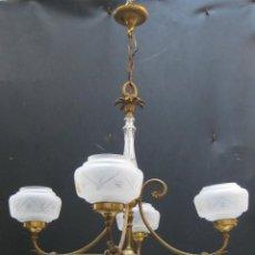 Antigüedades: GRAN LAMPARA ANTIGUA BRONCE IMPERIO ORIGINAL CIRCA 1900 CRISTAL AL ACIDO. Lote 58136423