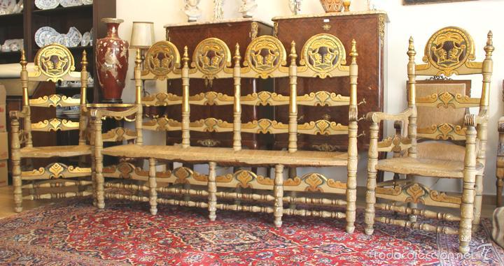 TRESILLO EN MADERA DE PINO POLICROMADO. ESTILO BARROCO. ESPAÑA. AÑO 1850. (Antigüedades - Muebles Antiguos - Sillones Antiguos)