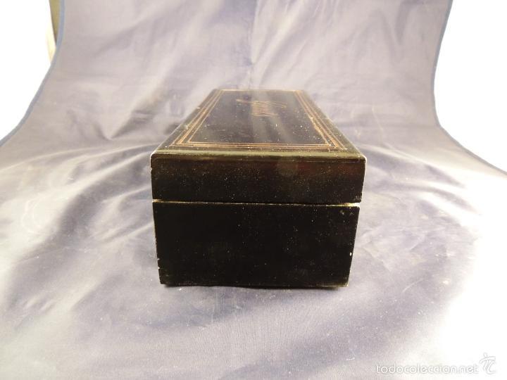 Antigüedades: CAJA DE GUANTES DE EPOCA NAPOLEON III CON MARQUETERIA METALICA - Foto 3 - 58141386