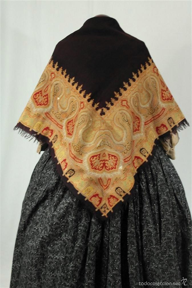 PAÑUELO DE MERINO, ESTAMPADO (Antigüedades - Moda - Pañuelos Antiguos)