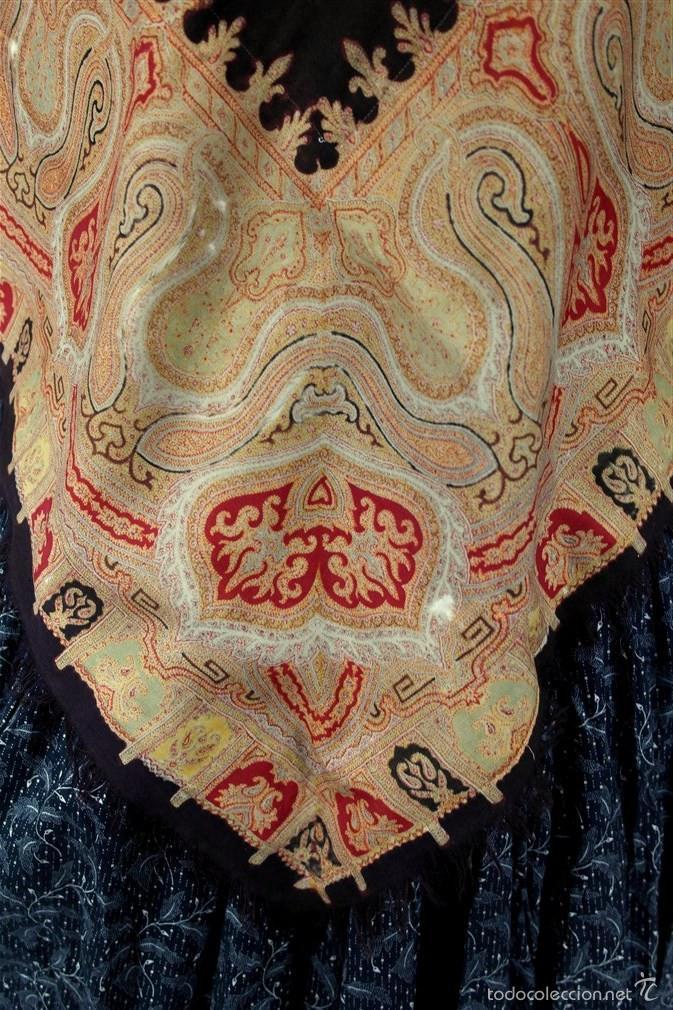 Antigüedades: Pañuelo de merino, estampado - Foto 2 - 58153234