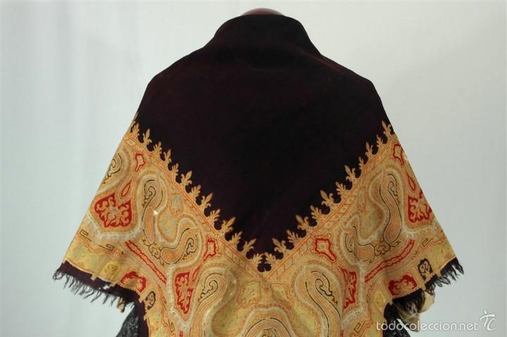 Antigüedades: Pañuelo de merino, estampado - Foto 3 - 58153234