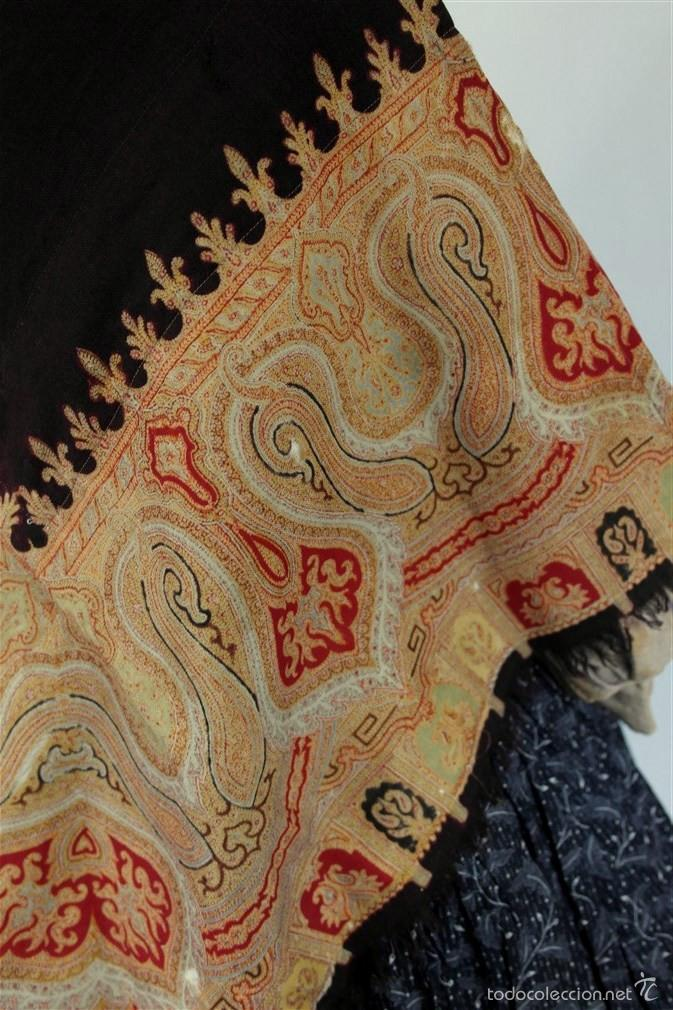 Antigüedades: Pañuelo de merino, estampado - Foto 4 - 58153234