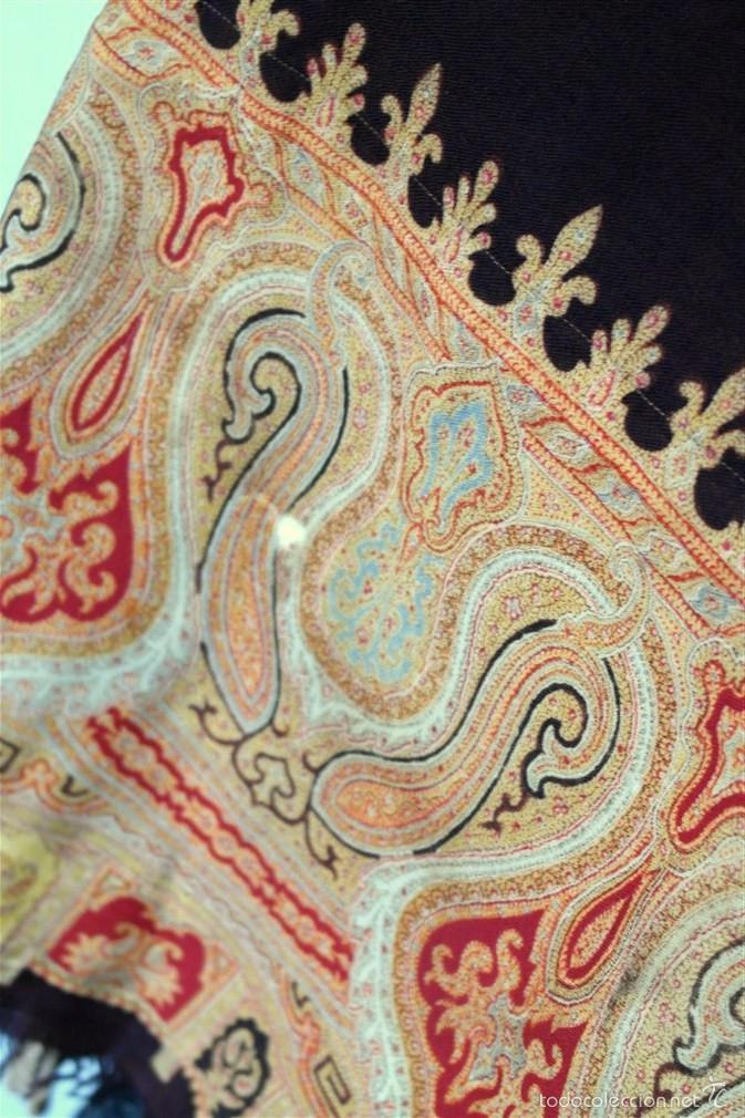 Antigüedades: Pañuelo de merino, estampado - Foto 5 - 58153234