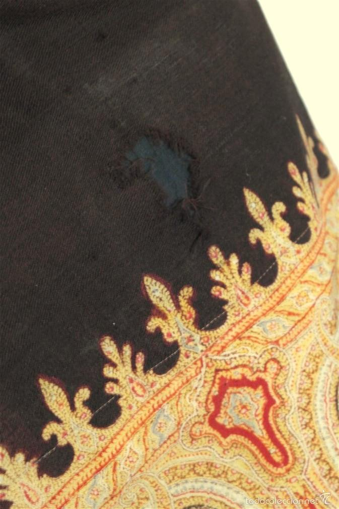 Antigüedades: Pañuelo de merino, estampado - Foto 7 - 58153234